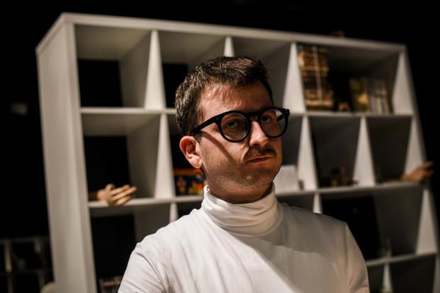 """Próba do spektaklu """"Beton"""" Teatru Miniatura. Na zdj. Wojciech Stachura, odtwórca głównej roli."""