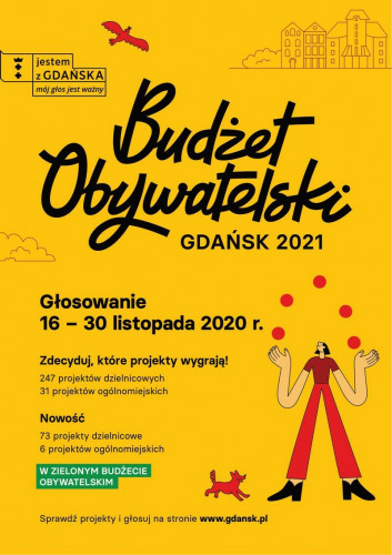 W gdańskim Budżecie Obywatelskim głosowanie trwa w dniach 16-30 listopada 2020.