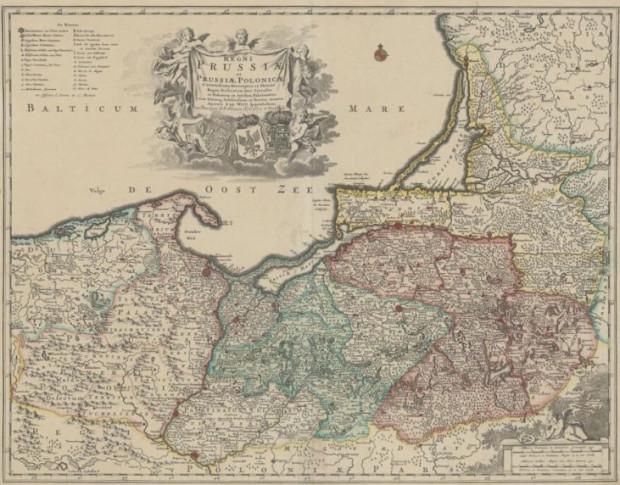 Mapa Prus Królewskich oraz Książęcych około roku 1711 r.