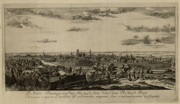 Panorama Gdańska z Biskupiej Góry, M. Deisch, 1765 r.
