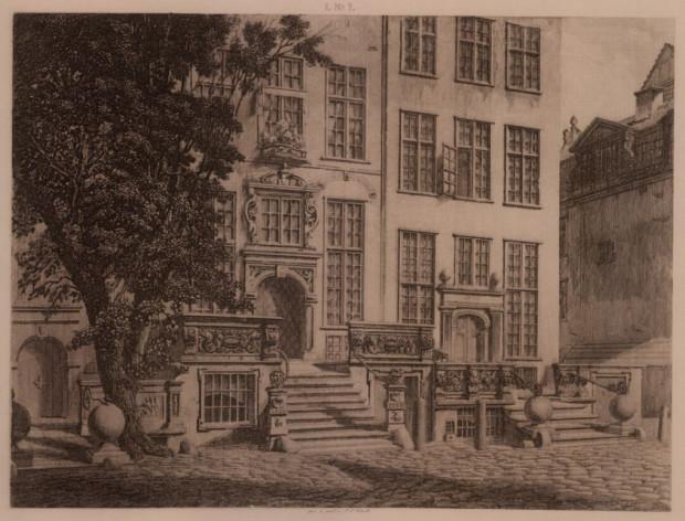 Rysunek przedproża gdańskiej kamienicy autorstwa J.C. Schultza, 1872 r.