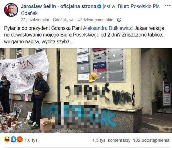 Jarosław Sellin domagający się reakcji Aleksandry Dulkiewicz.