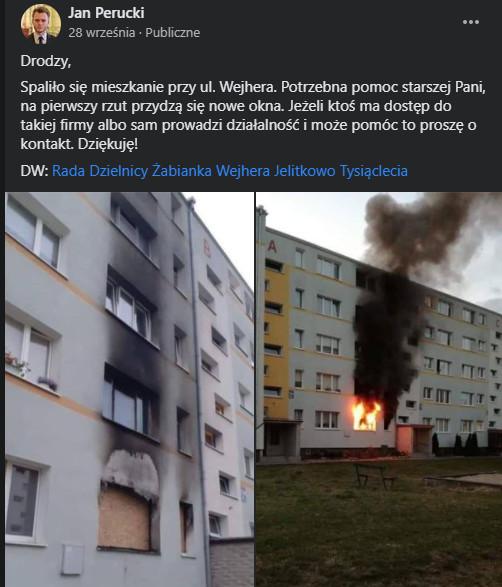 Podczas pożaru ucierpiało m.in. mieszkanie starszej kobiety. Samorządowcy zaangażowali się w pomoc.