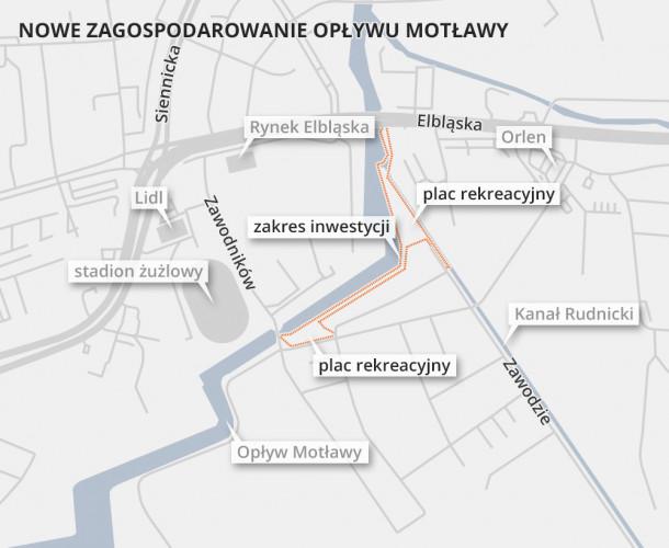 Po zakończeniu robót będzie można spacerować wzdłuż Opływu Motławy po stronie Olszynki od ul. Zawodników do ul. Elbląskiej.