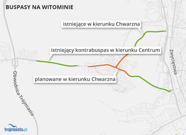 Istniejące i planowane buspasy na Witominie.