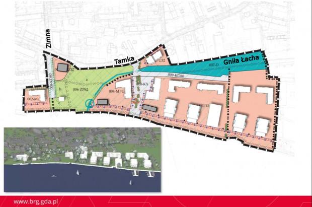 Przykładowa lokalizacja budynków na terenach przeznaczonych pod zabudowę.