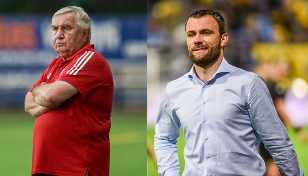 Który ze szkoleniowców po rozegraniu zaległych meczów zakończy jesień w lepszym nastroju: Jerzy Jastrzębowski (z lewej) czy Krzysztof Sobieraj.