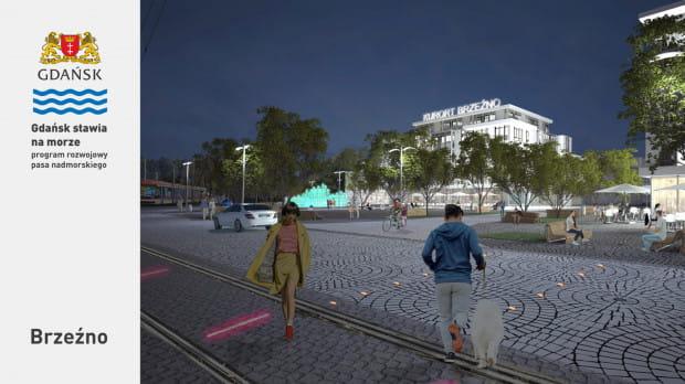 Przebudowany plac przy skrzyżowaniu ulic Krasickiego i Gałczyńskiego ma stać się nowym, rekreacyjnym centrum Brzeźna.
