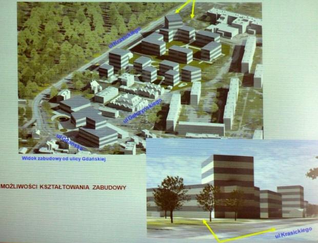 Nieaktualna forma zabudowy w oparciu o projekt planu z 2013 r.