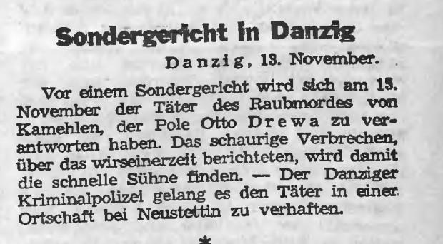 """Pierwsza wzmianka o sesji sądu specjalnego w Gdańsku, opublikowana w gazecie """"Thorner Freiheit"""" 13 listopada 1939 r."""