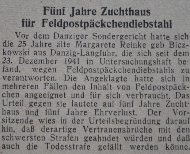"""Wycinek gazety """"Danziger Vorposten"""" z 7 marca 1942 r. z notką o wyroku na 25-letniej Margarete Reinke, skazanej na 5 lat ciężkiego więzienia za kradzież poczty frontowej."""