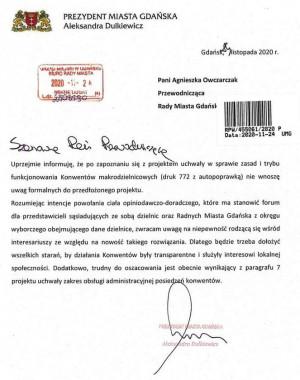 Stanowisko prezydent Gdańska wobec uchwały o powołaniu konwentów makrodzielnic.