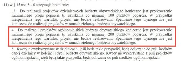 Fragment uchwały nr XIX/459/20 Rady Miasta Gdańska zmieniającej uchwałę w sprawie określenia zasad i trybu przeprowadzania konsultacji społecznych BO z mieszkańcami Gdańska.