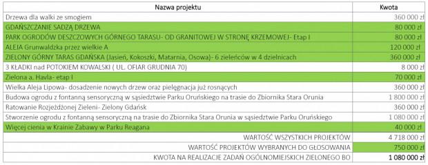 Zestawienie projektów ogólnomiejskich Zielonego BO.