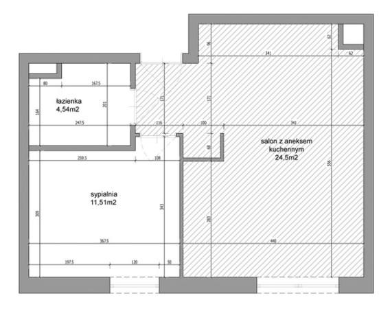 Wymiary i rozkład projektowanego mieszkania.