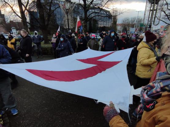 Protest na Targu Drzewnym.