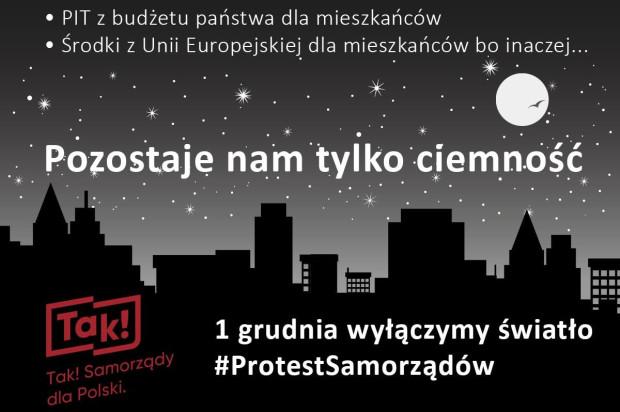 Grafika zapowiadająca wtorkowy protest samorządów.