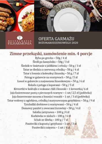 Oferta garmażu bożonarodzeniowego z restauracji Filharmonia