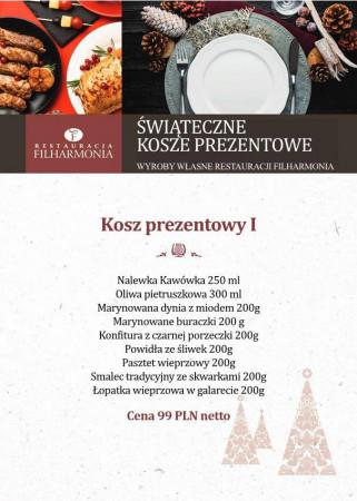 Restauracja Filharmonia przygotowała trzy propozycje koszy prezentowych.
