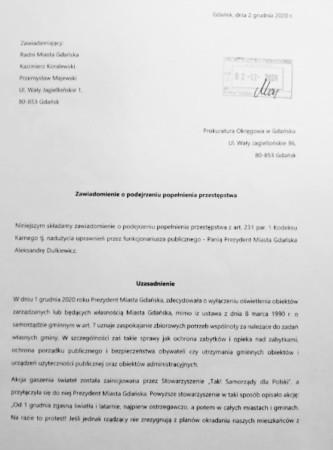 Skan zawiadomienia do prokuratury, złożonego 2.12.2020 r.