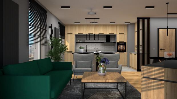 W pierwszej koncepcji w strefie wypoczynkowej znalazła się sofa oraz dwa fotele.