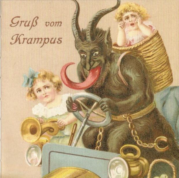 """""""Pozdrowienia od Krampusa"""", czyli nieco mroczna niemiecka retro pocztówka."""