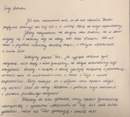 Podchorążowie z Akademii Marynarki Wojennej w Gdyni odpisali na list małego Ludwika.