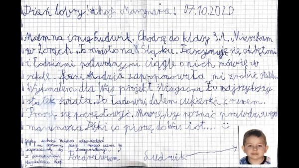 Młody fan opisał w liście swoją pasję i marzenie - poznać prawdziwego marynarza.