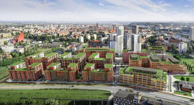 Inwestycja Doki na Młodym Mieście w pełnej krasie. Między ulicami Wałową i Nową Wałową (na pierwszym planie) powstaną nowe budynki mieszkalne i biurowe.