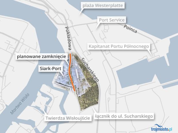 Odcinek ul. Pokładowej przewidziany do zamknięcia znajduje się na wysokości nabrzeża Siark-Portu.