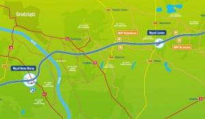 Przebieg autostrady A1 między Rusocinem, a Toruniem. Kliknij, by pobrać mapę w formacie PDF.
