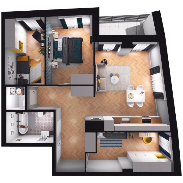 Przykładowy rozkład 4-pokojowego mieszkania w Centralparku.