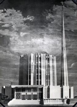 Wizualizacja kościoła NMP Królowej Różańca Świętego w Gdańsku-Przymorzu. Projekt przygotowany w 1960 r., zrealizowany dopiero w latach 70.