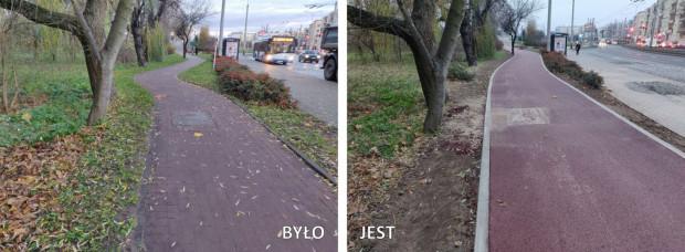 Porównanie stanu drogi dla rowerów na Wzgórzu św. Maksymiliana przed przebudową i na końcowym etapie inwestycji.