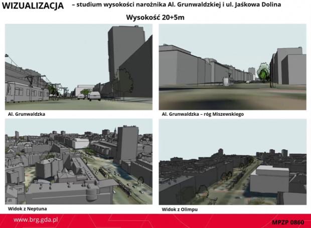 Analiza wysokości budynku 25-metrowego w miejscu Domu Kupca.
