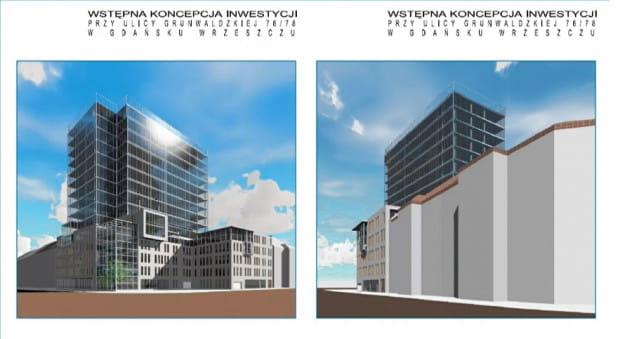 Wstępna koncepcja nowego budynku, który mógłby powstać na rogu al. Grunwaldzkiej i ul. Jaśkowej Doliny we Wrzeszczu.