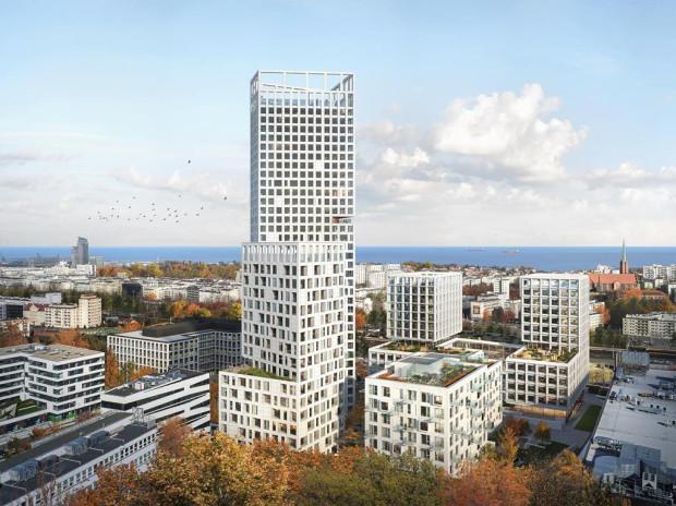 Pierwsza nagroda w konkursie. Grupa 5 Architekci z Warszawy. Widok w kierunku Śródmieścia Gdyni (po prawej na wizualizacji dach CH Riviera).