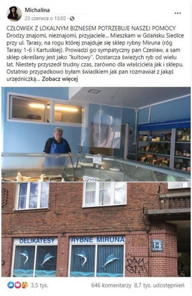 Pierwsza akcja w Trójmieście na tak duża skalę dotyczyła sklepiku rybnego w Gdańsku Siedlcach.