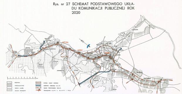 Schemat podstawowego układu komunikacji publicznej planowanej do realizacji do 2020 r. Kliknij w grafikę, aby powiększyć.