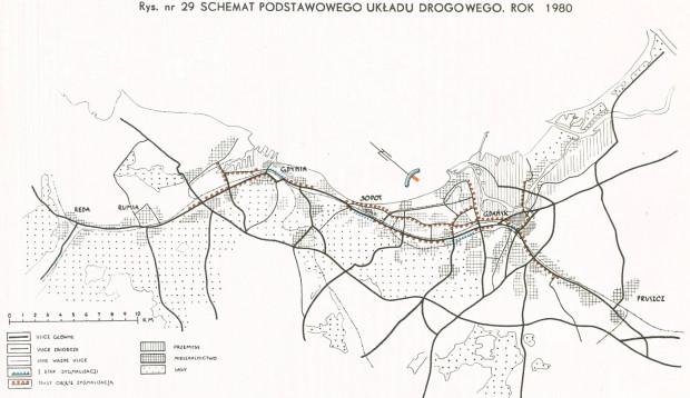 Schemat podstawowego układu drogowego planowanego do realizacji do 1980 r. Zawarto w nim m.in. Drogę Zieloną, Nową Wałową oraz Trasę Kwiatkowskiego.