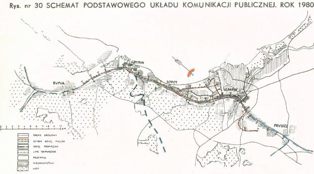Schemat podstawowego układu komunikacji publicznej planowanej do realizacji do 1980 r. Zawarto w nim m.in. Przymorską SKM oraz I etap SKM na Południe. Kliknij w grafikę, aby powiększyć.