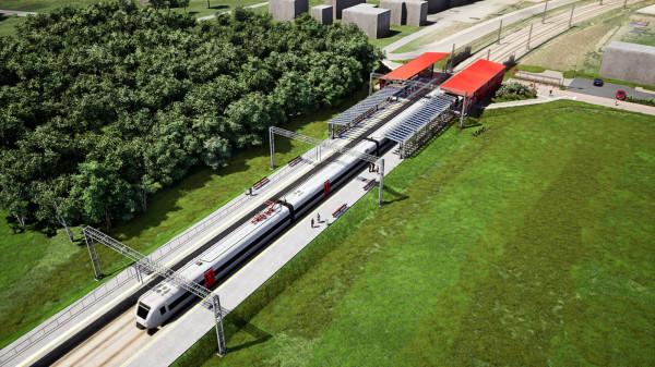 Nowy przystanek PKM Firoga wraz z trakcją elektryczną.