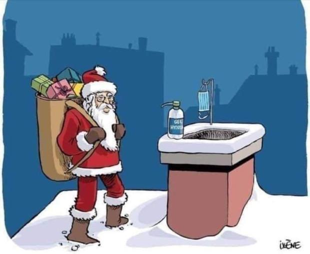 W tym roku żel antybakteryjny i maseczka dla świętego Mikołaja nikogo nie powinny dziwić.