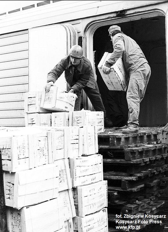 W latach 70. cała Polska z zapartym tchem czekała w grudniu na informacje o przybyciu statku z pomarańczami, które sprowadzano właśnie o tej porze roku. Rozładunek owoców cytrusowych w porcie przed świętami Bożego Narodzenia. Grudzień 1976 r.