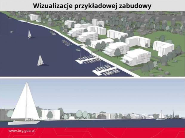 Możliwa forma zagospodarowania nabrzeża Martwej Wisły na Stogach zgodna z koncepcją planu.