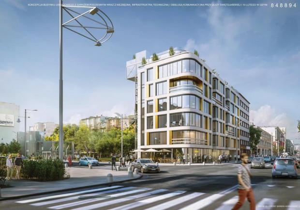 Koncepcja architektoniczna budynku na skrzyżowaniu ul. Świętojańskiej i 10 Lutego.
