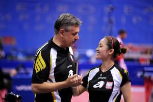 Li Qian i trener Zbigniew Nęcek.