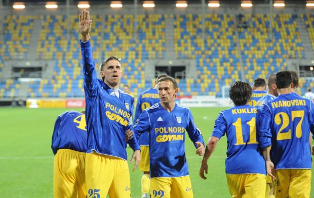 Tomasz Mazurkiewicz (nr 25) otworzył wynik pucharowego meczu.