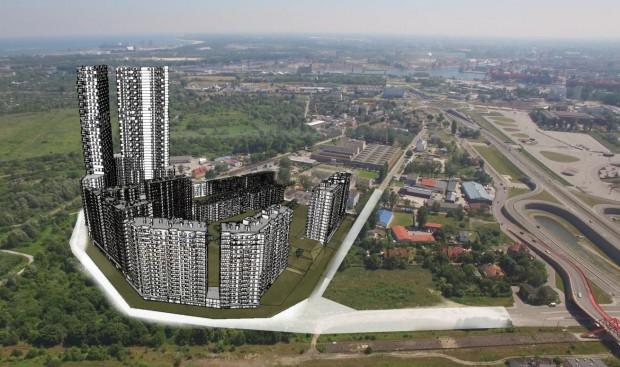 Wizualizacja zabudowy załączona do wydania tzw. decyzji środowiskowej. Po prawej widoczna ul. Uczniowska oraz Droga Zielona przy stadionie w Letnicy.