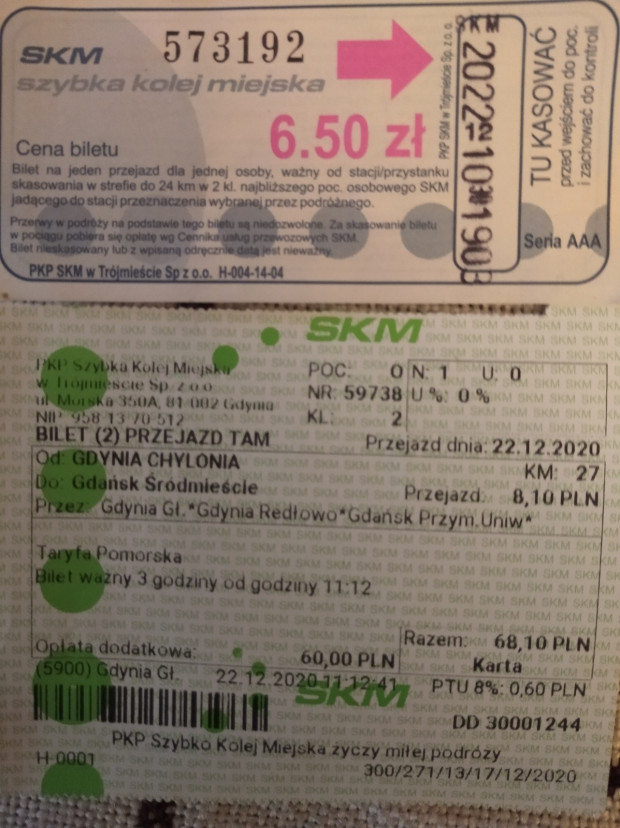 Powyżej wycofany z obiegu bilet pana Jana oraz bilet z Gdyni do Gdańska wraz z dodatkową opłatą.
